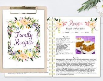 Floral Printable Cook Book, Editable Recipe Template, Recipe Pages Pattern,  Blank Recipe Book