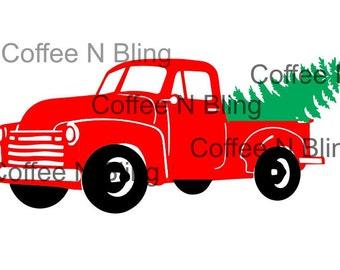 Vintage christmas truck svg, silhouette, cricut, decal, vinyl, digital file, christmas tree, tree farm svg,Christmas svg, vintage truck svg,