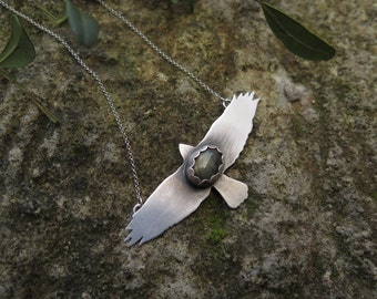 LABRADORITE HAWK NECKLACE. Silver Hawk Labradorite Fly High Necklace.