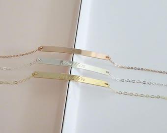 Engraved bar bracelet, Personalized  bracelet, coordinates bracelet, Custom Name, in Sterling Silver, Gold Filled, Rose Gold Filled