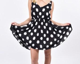 Black mini dress summer short printed dresses sundress for women