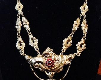 14k Gold Early Victorian Garnet Necklace Circa 1845