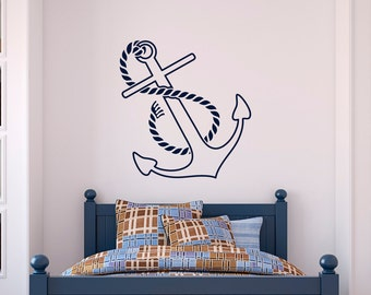 Nautical Anchor Wall Decal Vinyl Sticker- Anchor Wall Art Home Decor Kids Baby Boy Nursery Room Bedroom-  Anchor Nautical Wall Decals C049