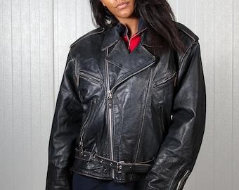 Vintage biker jacket / Leather motorcycle jacket / 80s leather jacket / Ladies black leather jacket / Men's leather biker jacket  / Size L
