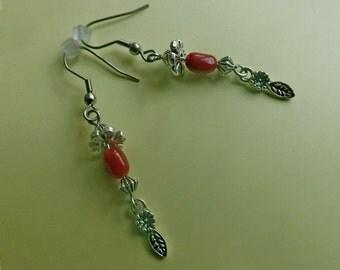Boucles d'Oreille Celtiques Corail Rouge