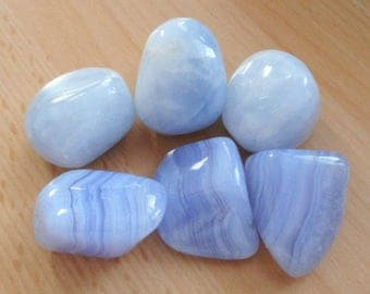 Blue Calcite & Blue Lace Agate Large Tumbled Stones 30mm - 6 Large Blue Crystals AAA Grade