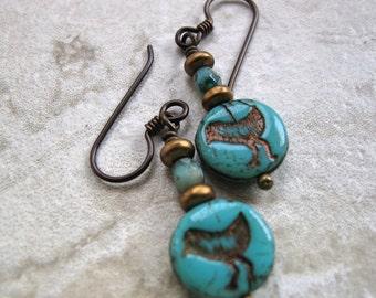 Bird earrings, bird jewelry, Niobium earwire, Turquoise Earring, Turquoise coins, Czech bird coins, Czech beads, Picasso beads, boho jewelry