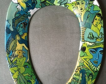 BIRDY Hand Painted Green and Blue Toilet Seat - Fits OVAL Elongated Bowl! Bathroom Artwork Unique Decor Home Painting Birds