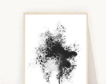 Abstract Art Print, Printable Art, Minimalist Poster, Black Abstract, Scandinavian Art, Home Decor, Wall Art, Wall Decor, Instant download