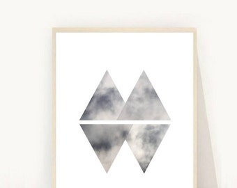 Scandinavian Print, Geometric Art, Triangle Print, Minimalist, Printable  Art, Instant Download, Grey Wall Art