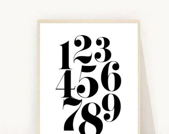 Numbers poster, Numbers Print, Nursery Print,  Numbers Printable, Digital Download, Black and White Nursery