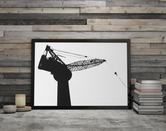 Black Crane. Scandinavian Artwork. Minimalist Wall Art. Black and White Living Room Art. Architecture and Construction Wall Art. Home Style