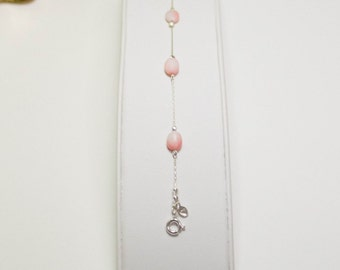 Pink coral bracelet, dainty bracelet, sterling silver bracelet, gemstone beaded bracelet, pink beaded gemstone bracelet, jewelry set