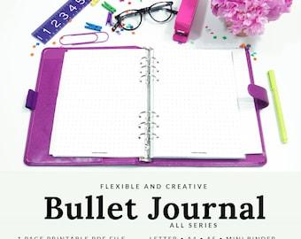 Bullet Journal Paper, Printable Bullet Journal, Dot Grid, Bullet Journal Template, A5, Mini Binder, Letter, A4, Dot Grid, PBLT-1500-A