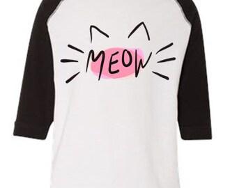 Meow Kids Kitty Cat Shirt
