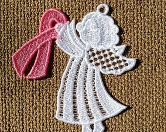 Lace Angel Brenda Breast Cancer Awareness Ornament
