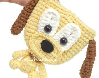 Plunto Key Pouch - Yellow , crochet pouch, Plunto Crochet