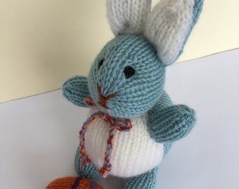 Knitted Blue and White  Bunny.  Australian made Toy.