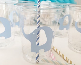 Elephant Party Cups -  Elephant Baby Shower - Zoo Cups - Animal Theme Party - Elephant Birthday Decor - First Birthday - Circus Elephants