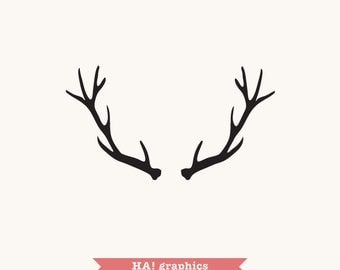 Deer Antlers SVG and DXF, PNG File -  Silhouettes, Clipart, Vector, Instant Download