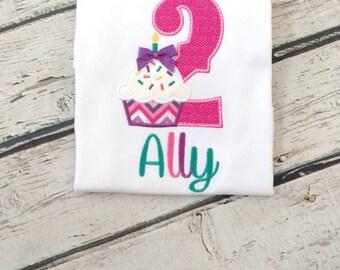 Girls birthday shirt - cupcake birthday shirt - personalized birthday shirts - second birthday shirt - first birthday shirt - cupcake party