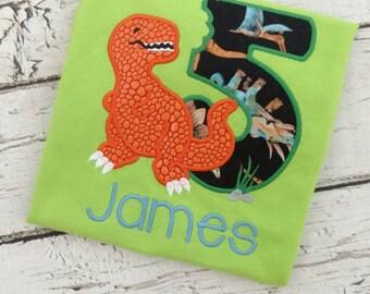 Dinosaur Birthday Shirt - Dinosaur Birthday - T Rex birthday shirt - personalized birthday shirt - monogrammed birthday shirt