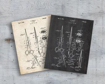 75% OFF SALE - Scissors Patent, Scissors Poster, Wall Art Print, Retro Patent Poster, Hairdresser Art, Beauty Shop Art, Patent Poster