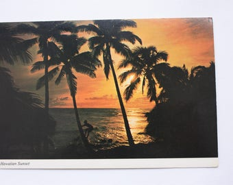 Sunset Hawaii Postcard 1985  / Sunset Postcard / Palm Trees Postcard
