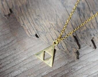 Legend of Zelda Triforce necklace, gold triforce jewelry, Zelda gold triforce jewelry, Legend of Zelda party favors, Legend of Zelda games