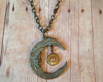9 mm Caliber Bullet on a Patina-ed Brass Moon with a Swarovski Crystal, Bullet jewelry, Women's necklace, Women's jewelry