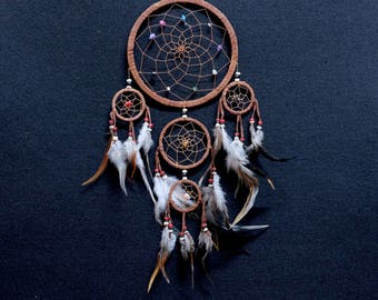 Dream Catcher Brown Color dreamcatcher 5 Circles Handmade Home Decoration Ornament Bead Feathers Suede Nylon Wall Hanging Wall Decor