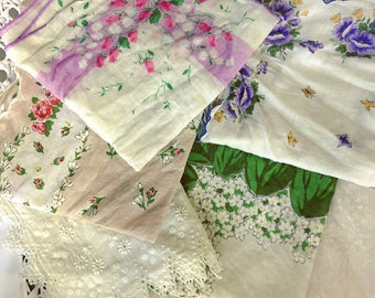 Vintage Handkerchiefs Printed Floral Tatted Lace Scalloped Edging Lot of 6