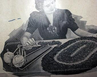 RUG LOOM Vintage 1938 Wards Easy Weave Rag Rug Loom Braid Braided Type Handmade Rugs T.H. Clack