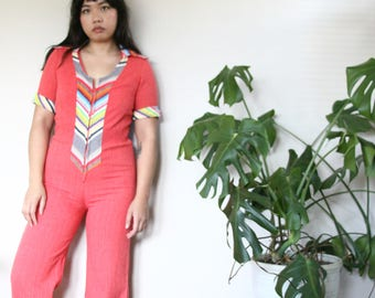 70s One of a Kind! Handmade Vintage Pink Linen Wide-Leg Jumpsuit!! S/M