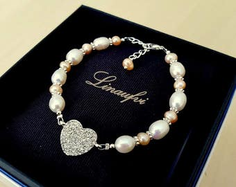 Lovely Pearl Bracelet - White, Peach - Freshwater Pearl, Crystal - Bright Silver - Adjustable length