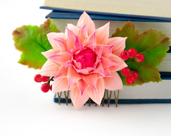 Dahlia wedding hair combs Guelder rose berries Pink dahlia flower accessories Bridal hair combs Wedding flowers for hair flower girl gifts