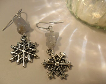 Frost Fairy Earrings ~ Silver Snowflakes with Blue Lace Agate ~ Pagan Yule Christmas Snow Queen Earrings