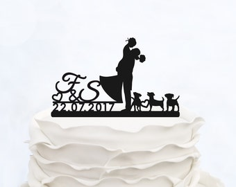 CUSTOM CAKE TOPPER silhouette with last name_Wedding Cake topper with initials_Custom cake topper dogs__Personalized cake topper
