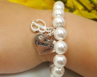 Flower Girl Initial Bracelet, Personalized Wedding, Child Bracelet, Flower Girl Gift, Letter A-Z Initial Monogram Charm, Personalized Letter