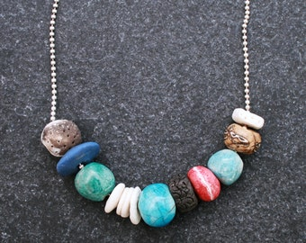 Fire beads ceramic necklace w/ handmade blue Raku/ pit fired /porcelain beads/ Silver ball chain/ modern/ organic/ stylish/ Gifts for her