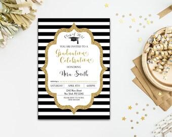 Black & White Stripe Graduation Invitation, Gold Glitter, Customizable Graduation Invite, DIY Printable, 4x6 or 5x7- Digital File
