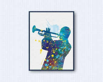 Trumpet Player Watercolor Poster