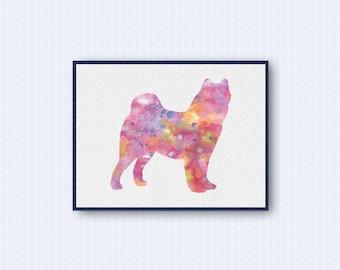 Samoyed Dog Watercolor Poster