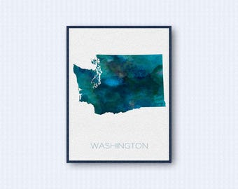Washington Map Watercolor Poster, United States Map Print, Blue Version