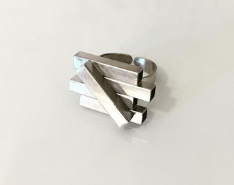 Geometric ring , Pipes Ring with a diagonal pipe , Adjustable Rhodium plated ring , Urban style.