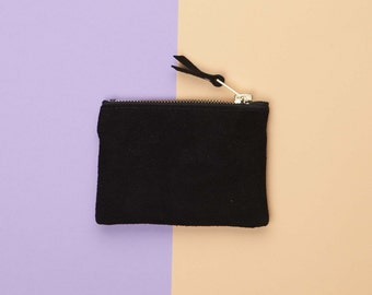 Black Suede Pouch / Leather Coin Purse // Leather Bag // Coin Pocket Wallet  // Custom Monogram // Small Leather Bag // Coin Purse