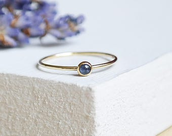9ct Gold Sapphire Stacking Ring, Birthstone Jewelry, Gold Stackable Sapphire Ring, 9ct Gold Ring, Sapphire Jewelry, Gemstone Stacking Ring