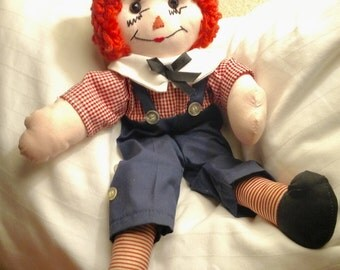 Vintage Raggedy Andy Doll - HANDMADE - Hand Stitched - Knickerbockers, Overalls, Plaid Shirt, Cloth Doll, I love you stitching