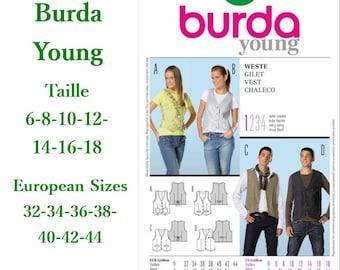 Burda, 7810, Vest, semi-fitted, 6-18, 4 models, 7 sizes, women, new, uncut, never used