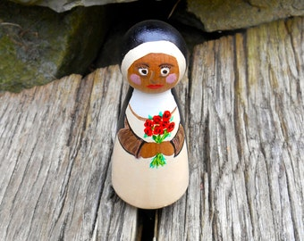 Saint Therese the child Jesus, Wooden Peg Saint, Little Flower, Patron Saint, Miniature Saint, Confirmation Gift, Saint Thérèse of Lisieux